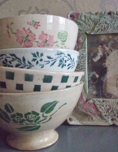 Old bowls from Digoin France, love them.