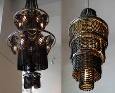 These chandeliers made of recycled bike parts are insanely beautiful. ArtistCarolina Fontoura Alzaga is behindConnect, an entire series of sculptures made of recycled bicycle parts of varying size and shape. Visit Carolina's site to learn more about the Connect project.