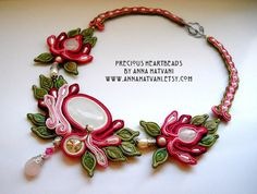 Bead Embroidery Necklace Soutache pink green silver Bead Embroidered Swarovski