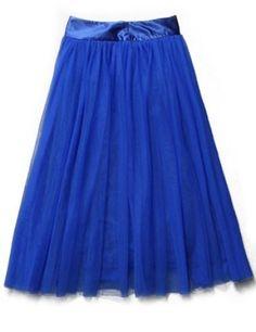 Royal Blue High Waist Mesh Yoke Flare Skirt
