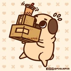 Hi Pootie Pals! This year has been a really exciting one for Puglie and I! Lots of new and grand adventures for the little poot, exhibiting at 12 events and conventions total, and keeping up with creating new content and new merch with exciting plans. Pug Wallpaper, Cute Wallpaper Backgrounds, Cute Cartoon Wallpapers, Cute Animal Drawings, Kawaii Drawings, Easy Drawings, Pug Kawaii, Kawaii Art, Kawaii Doodles