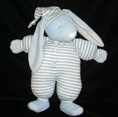 Blue Sleepyhead Bunny Stripe Pajamas PJs Plush North American Bear Co EXC COND #NorthAmericanBearCompany