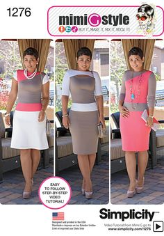 Simplicity 1276 Mimi Style Knit Dress:  color blocked knit dress can be short sleeve with flared skirt, long sleeve with slim skirt, or have half sleeves, front cutout and slim skirt.