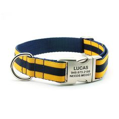 OMG!!!  Vito NEEDS this sooooo bad!!!  Layered Stripe Dog Collar with Laser Engraved Personalized Buckle - Navy/Yellow Gold