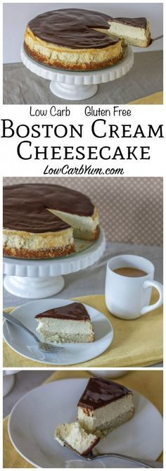 Low Unwanted Fat Cooking For Weightloss A Fabulous Low Carb Boston Cream Cheesecake That Bakes Up In No Time. It's Got A Layer Of Gluten Free Cake Topped With Cheesecake Then A Layer Of Chocolate Lchf Keto Banting Dessert Recipe. Low Carb Deserts, Low Carb Sweets, Gluten Free Cakes, Gluten Free Baking, Gluten Free Pie, Banting Desserts, Diabetic Dessert Recipes, Raw Desserts, Indian Desserts