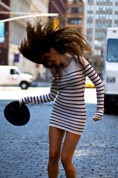 Dress: sweater striped tan body-con tight winter es long sleves longsleved crew neck white black