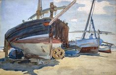 """Boats on the Beach at Valencia,"" Joseph Olaf Olson, 1926, watercolor, 15 x 22"", private collection."