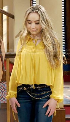 Maya's yellow blouse on Girl Meets World.  Outfit Details: https://wornontv.net/57794/ #GirlMeetsWorld