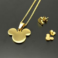 316L stainless steel Bear Pendants Necklaces earrings For Women's18k Real Gold Vacuum Plated jewelry sets 2 years warranty