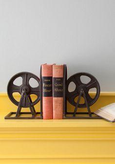 Film Industrial Bookends - Black, Vintage Inspired, Dorm Decor