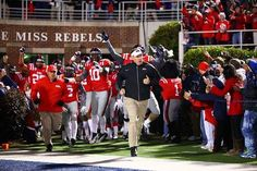 Ole Miss Rebels head coach Hugh Freeze leads his team onto the field. So excited and ready for the next few years of Ole Miss football!