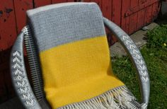 A beautifully soft wool blanket. The contemporary yellow and grey design makes it a covetable addition for a sofa, chair or bed. Welsh Blanket, Wool Blanket, Mustard And Grey Bedroom, Grey Yellow, Soft Furnishings, Cushions, Bedroom Ideas, Board, Design