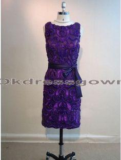 Off Shoulder Elegant Modest Short Affordable Purple bridesmaid dress with Handmade Flowers