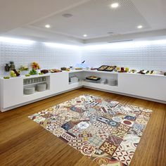 #Breakfast is ready! Beautiful #hotel #flooring with patchwork #cementtiles from #mosaicdelsur #hoteldesign #interiordesign