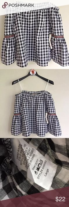 """Gingham Off Shoulder Blouse Women's Twinkle Gingham Plaid Off the Shoulder Flutter Embroidered Bell Sleeve Blouse   Black and White  Women's Size L  Measures 22"""" across chest arm pit to arm pit laying flat. Length is 21"""" long from top of shoulder to bottom of hem. Twinkle Tops Blouses"""
