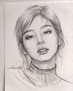 Art Drawings Beautiful, Dark Art Drawings, Pencil Art Drawings, Realistic Drawings, Girl Drawing Sketches, Portrait Sketches, Art Drawings Sketches Simple, Portrait Art, Drawing Portraits
