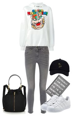 """""""Moschino Super Moschino hoodie"""" by hotbabesonamission ❤ liked on Polyvore featuring Moschino, MiH Jeans, Elizabeth and James, Forever 21, adidas Originals, DayToNight, winteressentials, winterstaples and bestof2015"""