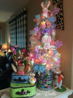 Easter Decor, Spring Decor, Easter Tree, Spring Tree by Ba Bam Wreaths – Trendy Tree Custom Wreath Designer Creations – trendone Easter Tree Decorations, Easter Wreaths, Easter Decor, Easter Ideas, Spring Wreaths, Holiday Tree, Holiday Crafts, Holiday Fun, Christmas Trees