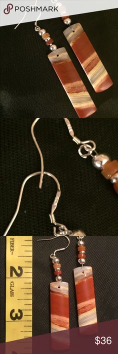 Red River Jasper Earrings Beautiful red river jasper speaks for itself, so I didn't need to add much at all. These are made with carnelian and sterling beads and hang from .925 stamped wires. Please see photo #3  for size. All of my pieces are original and come with a gift box. 🌹 Thank you for taking a closer look! Brindleracer Designs Jewelry Earrings