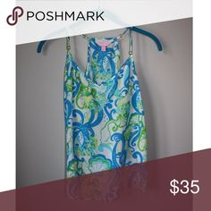Lilly Pulitzer Dusk Racer Back Tank Top Worn few times! Just like new! Color is Resort White Crystal Coast Mini Lilly Pulitzer Tops Tank Tops