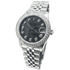 Pre-owned Rolex 31mm Stainless Steel Black Mother Of Pearl Diamond... (6,425 CAD) ❤ liked on Polyvore featuring jewelry, watches, accessories, none, pre owned jewelry, diamond jewellery, black jewelry, pre owned watches and diamond jewelry