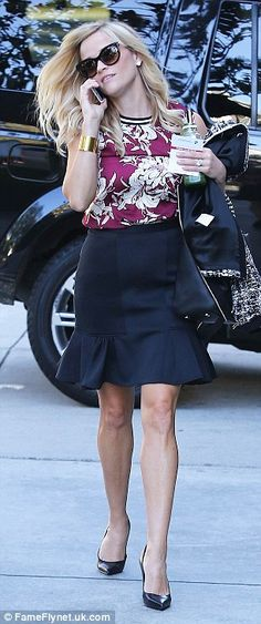 Cute outfit.  Pencil skirt with ruffles
