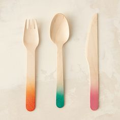 "Cheerful colors dress these disposable birch utensils for parties, picnics, and cookouts.- Set of 6 forks, 6 knives, 6 spoons- Sustainably harvested birch wood- Single use- ImportedEach: 1""W, 6""L"