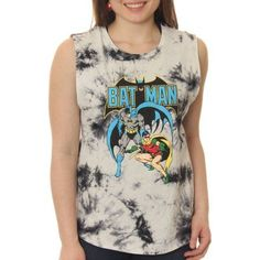 Batman Juniors' Classic Comic Heroes Muscle Graphic Tank Top With Tie Dye Coloring, Size: Small, White