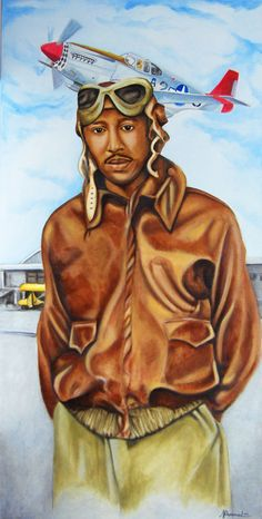(Artist collection) Red Tail / Believe in Yourself; 24x48 in. oil on canvas; This is a portrait of my father, Harold C. Hayes, who was a pilot and instructor for the Tuskegee Airmen. He helped open the base and was one of two that turned the key to close the base. He remained in the Air Force and retired as Lt. Colonel.