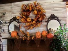 Ideas, Decorating Fall Style Colors Decorations Great House Decor Themes Room Kids Table Tips Ideas Autumn Home Wooden Mirror Flower Plant: Terrific, Autumn Decorating Tips and Ideas Thanksgiving Home Decorations, Fall Mantel Decorations, Fall Home Decor, Autumn Home, Halloween Decorations, Autumn Mantel, Thanksgiving Mantle, House Decorations, Harvest Decorations