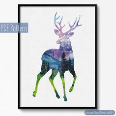 Wild Deer Cross Stitch pattern Deer Pattern Mountain Forest