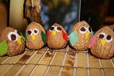 nut craft, walnut, owl, craft idea, toddler craft, crafts