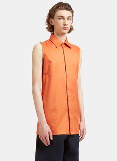 ACNE STUDIOS Men'S Dalby Long Sleeveless Bi-Colour Shirt In Orange And White. #acnestudios #cloth #