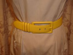 FAB! Vntg Guy Laroche Couture Calfskin Ladies Yellow Leather Belt France sz 30 #GuyLaroche