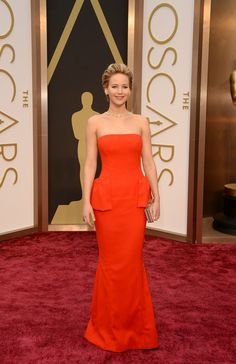The always fabulous Jennifer Lawrence wearing a red peplum Dior gown. 86th Academy Awards - #2014 Oscar Nominees The Oscars 2014 | Academy Awards 2014 #RedCarpet #TheLimited #CelebrityStyle via http://oscar.go.com