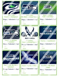 seattle seahawks printable digital valentines day cards 1 - Valentines Day Seattle