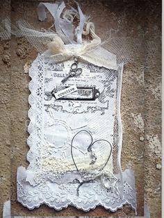 Tag+ by ch... #tag #scrap #scrapbooking #vintage #mixedmedia #heart #sweet #wire #creatividad
