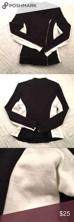International Concepts Black & White Moto Jacket I.N.C. Moto Jacket is in excellent used condition. There is one very small mark as shown in the photo but no other flaws have been found. INC International Concepts Sweaters