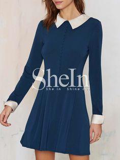Shop Blue Long Sleeve Contrast White Collar Dress online. SheIn offers Blue Long Sleeve Contrast White Collar Dress & more to fit your fashionable needs.