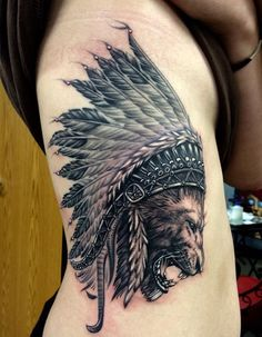 #lion #headdress #tattoo #ides #tattooideas #sick #badass