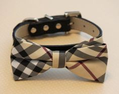 Plaid Burly wood bowtie Dog Bow Tie attached to black leather collar, Chic Dog Bow tie, Wedding Dog Collar