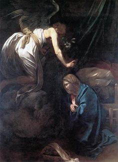 "Caravaggio, Annunciation, Oil on Canvas, Painting 1608 Musée des Beaux-Arts Nancy, France, Europe. (From ""The Art Thieve"", Noah Charney)"