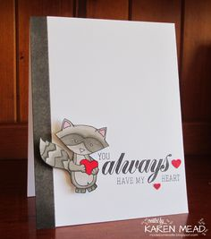 Made by Meadie: Have a Heart Raccoon Valentine Card | Sweethart Tails stamp set by Newton's Nook Designs