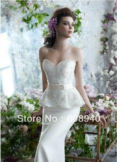 Fresh two peice mermaid wedding dress Dos pieza de novia blanco modelos sirena vestido de