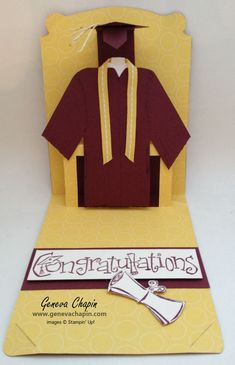 Wonderful graduation pop-up card by Geneva using the Stampin' Up! Pop 'n Cuts dies - Card Base + Dress Form insert.