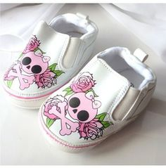 Baby Girl Skulls Roses Shoes Gift Of Birth