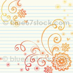 Flowers and Swirls Hand-Drawn Sketchy Doodle Vector Illustration by blue67design, via Flickr