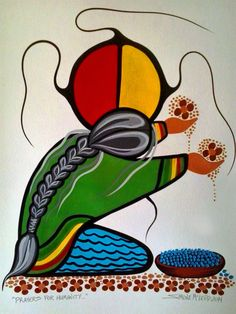 Prayers For Humanity acrylic on watercolor paper 2014 by Simone McLeod. A prayer for the healing of All Peoples, Native American Artwork, Native American Beadwork, Native American Artists, American Indian Art, American Indians, Native Design, Southwest Art, Canadian Art, Indigenous Art