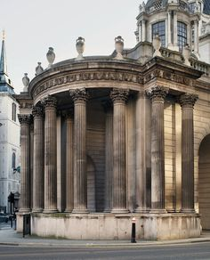 "Bank of England, Sir John Soane, architect  |  This remaining fragment of Soane's extrordinary bank, built 1794-1798, is known as the ""Tivoli Corner."""
