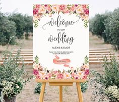 Printable Wedding Welcome Sign Templates - Custom Wedding Sign, Floral Wedding Large Poster 24x36 inch, DIY Template, PDF Instant Download by aDaySpecial on Etsy https://www.etsy.com/uk/listing/467902608/printable-wedding-welcome-sign-templates